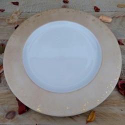 Assiette plate porcelaine or rosée