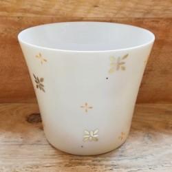 pot à bougie en porcelaine ivoire et or