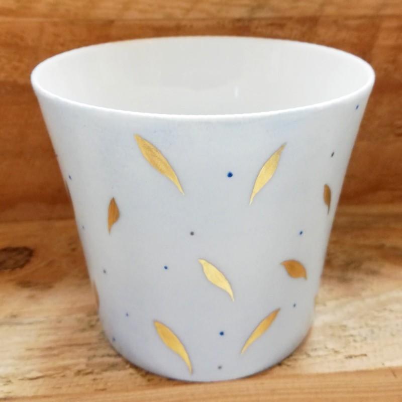 photophore porcelaine de limoges décor bleu et or