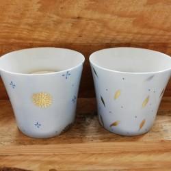 bougeoir porcelaine motif bleu et or
