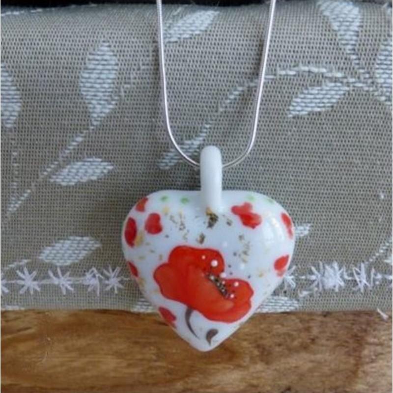 collier cœur porcelaine noces de coquelicots