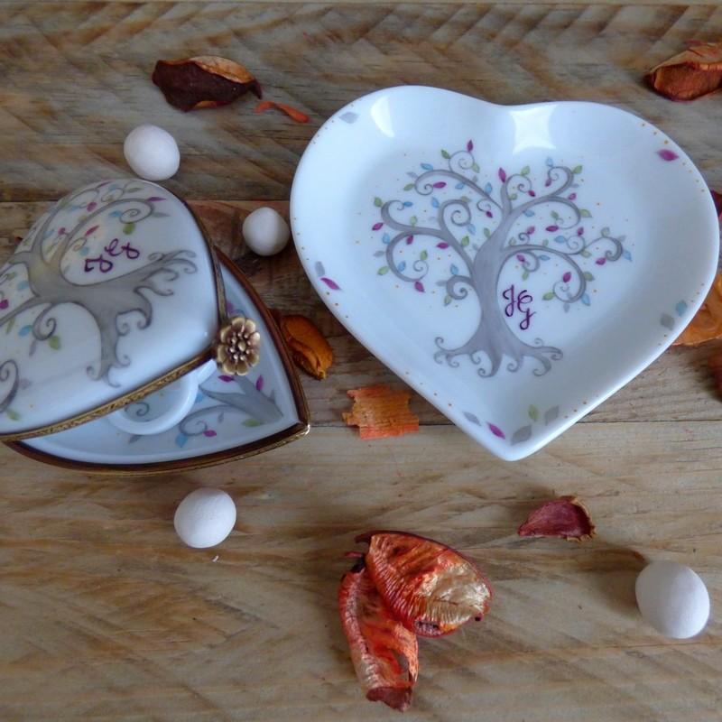 Coupelle cœur porcelaine décor Arbre de vie