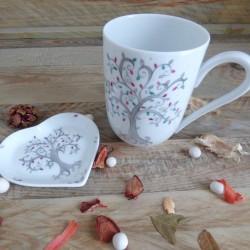 Mug porcelaine décor arbre de vie Personnalisable