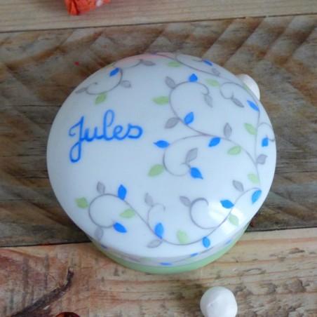 Boite pilules ronde porcelaine bleue