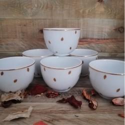 petit bol thé porcelaine fine de Limoges décor or