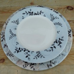 duo assiette porcelaine de Limoges décor végétal et mer bleu gris