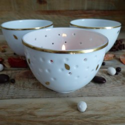Porcelain candle pot Gold...