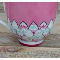 Tasse déjeuner porcelaine fine rose et turquoise