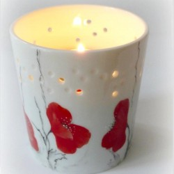 Bougeoir porcelaine rouge passion Noces de coquelicots