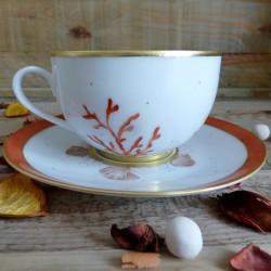 Tasse thé porcelaine Limoges - cadeau de mariage , noces de corail