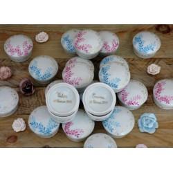 Boite dragées porcelaine personnalisée couleur et or