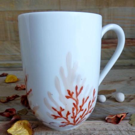Mug porcelaine décor corail orange