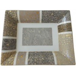 Vide-poches porcelaine forme Hermès camaïeu gris et or