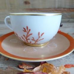 Tasse café porcelaine décor corail -anniversaire mariage
