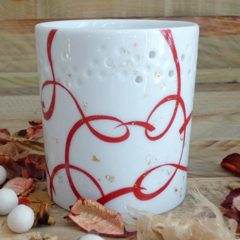 photophore porcelaine rouge et or anniversaire de mariage