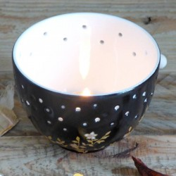 Porcelain candle pot flower...