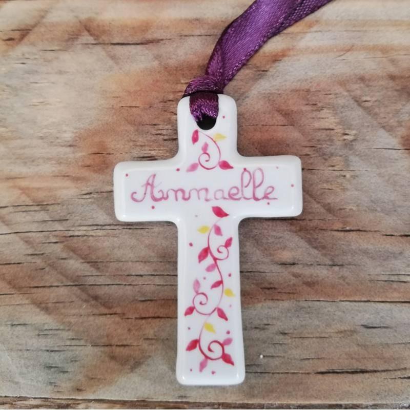 Pink Porcelain  baptism Cross personalised