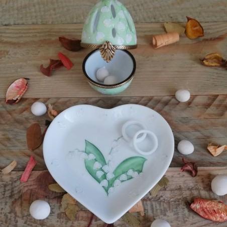 coupelle cœur porcelaine Muguet brin de bonheur