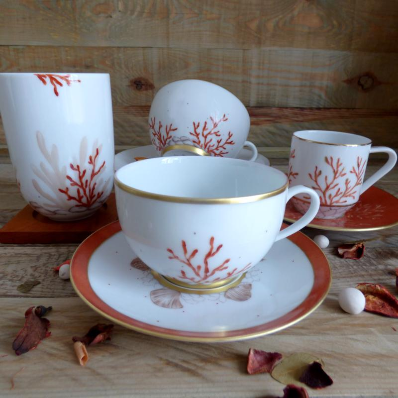 collection porcelaine corail et coquillages tasses et mug