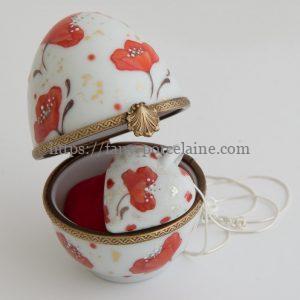 boite oeuf et collier coeur porcelaine -idée cadeau noces de coquelicots