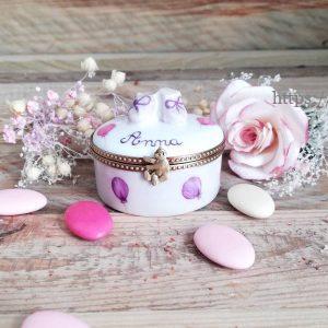 Boite à dents porcelaine prénom et décor balllons