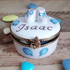 boite à dents pour cadeau de naissance ballons bleus et prénom