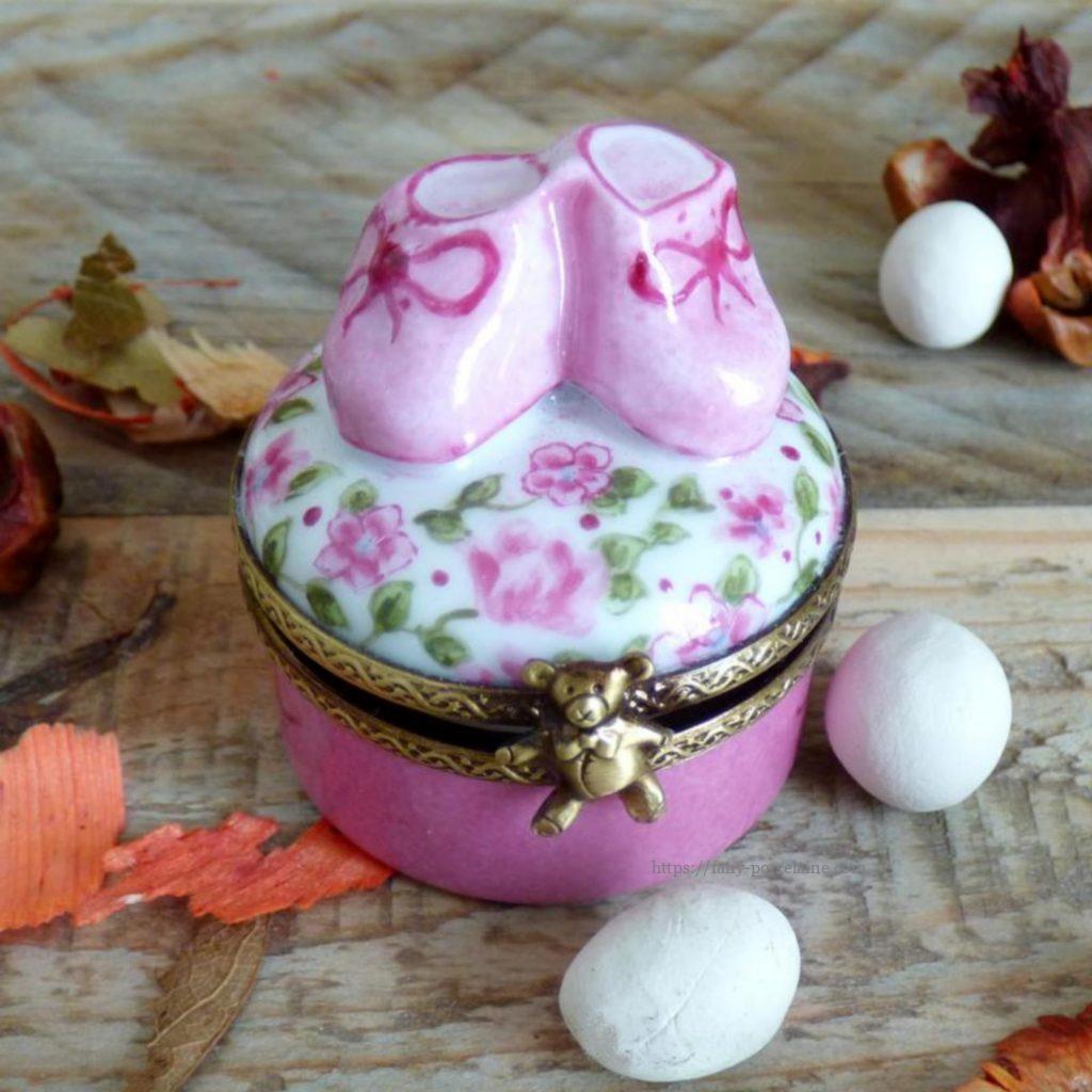 boite à dents porcelaine de limoges décor liberty rose