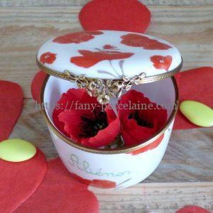 boite porcelaine décor coquelicots rouges