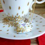 collier coeur porcelaine de Limoges - décor initiales et or -peint à la main