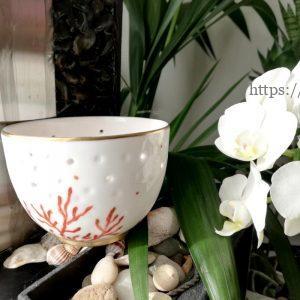 photophore porcelaine Limoges décor corail et or