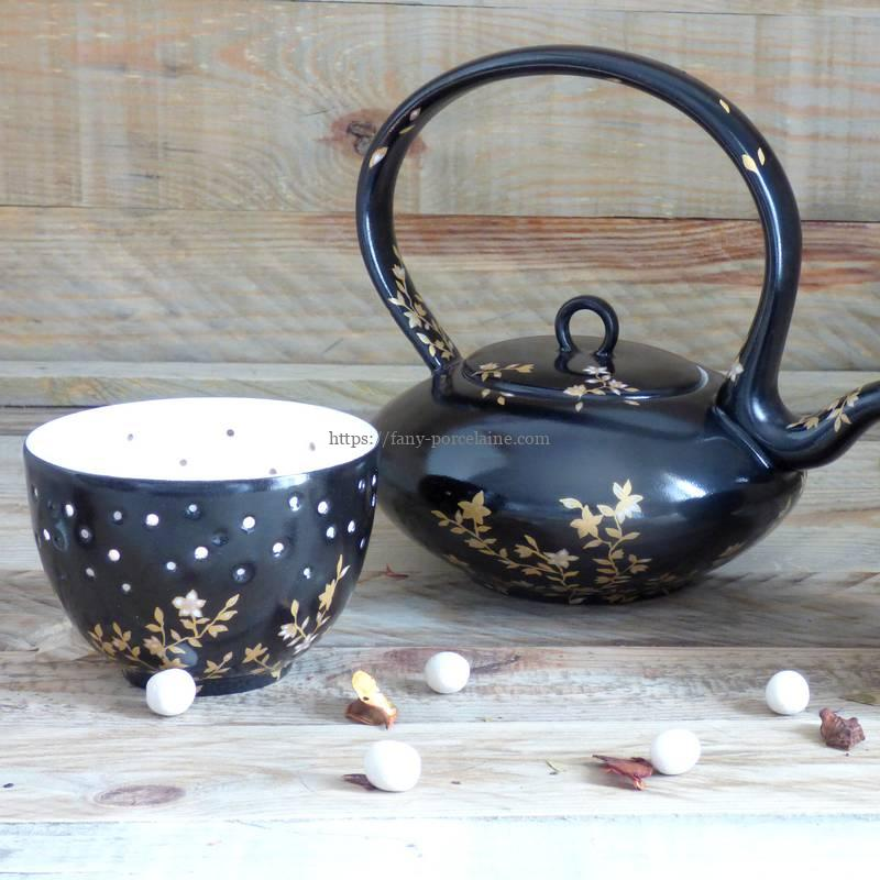 Photophore porcelaine noire et or - décor fleurs du Japon - Limoges