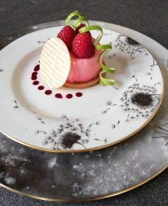 Assiette de table porcelaine service Pissenlit et or
