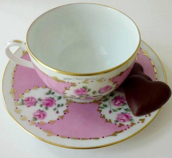 tasse café porcelaine décor rose et or