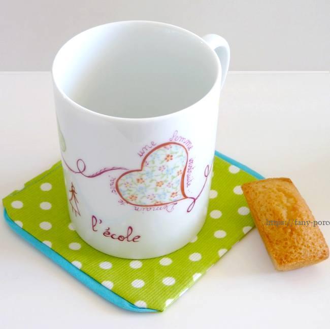mugs coeur porcelaine Peint pour l'association Toutes à l'école