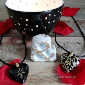 collier coeur porcelaine - cadeau noces de porcelaine