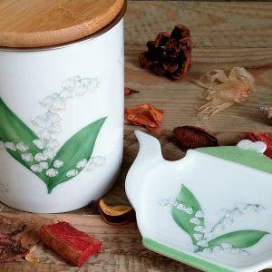 mug et repose-sachet de thé porcelaine décor muguet