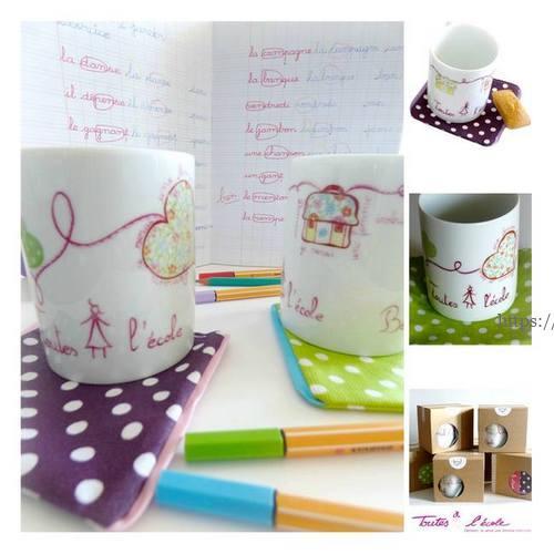 collection mugs coeur porcelaine peints pour l'association Toutes à l'école