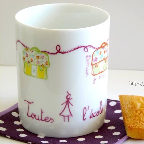 mug décor cartable porcelaine pour toutes à l'école