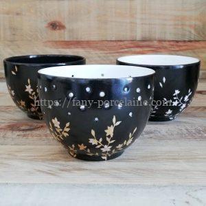 photophore porcelaine noire et or décor fleur du japon