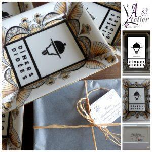 Vide-poches porcelaine de Limoges avec décor sur mesure cadeau d'entreprise