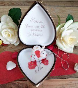 Boite coeur porcelaine collection pasion coquelicot