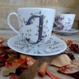grande tasse mug porcelaine - petit déjeuner - décr initiales