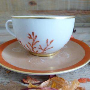 Tasse à thé porcelaine de Limoges collection Corail