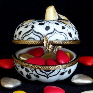 boite porcelaine citrouille pour halloween