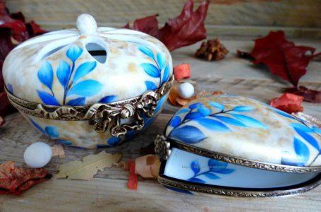 Boite porcelaine diffuesuer de parfum feuilles bleues et or